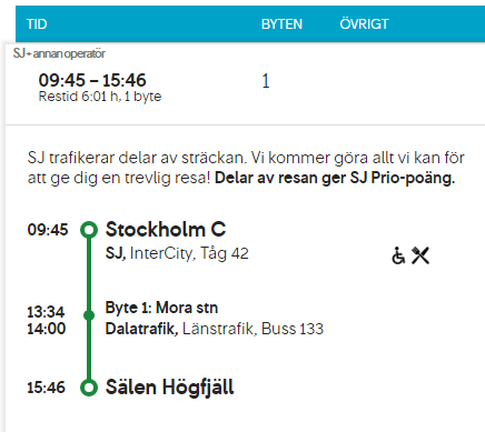 Relaxed journey from Stockholm to Sälen by train and bus - travel time only 6 hours