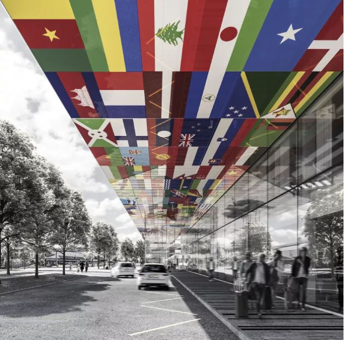 """Colourful """"flag hotel"""" wins competition for new hotel at Gothenburg airport"""