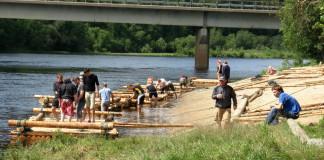Timber rafting on the river Klarälven in Värmland