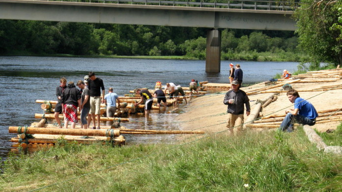 Timber rafting on the river Klarälven in Värmland