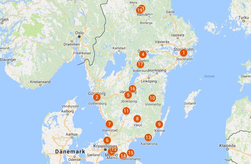 Map Of Sweden Map of Sweden   With major tourist destinations   Swedentips.se Map Of Sweden