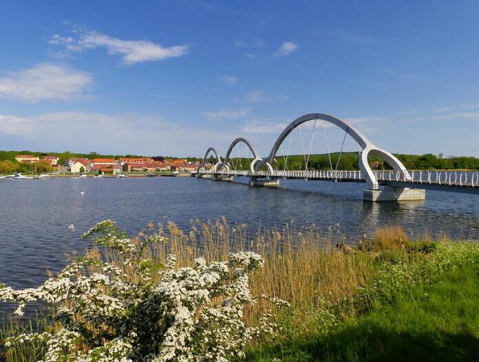 The pedestrian bridge in Sölvesborg