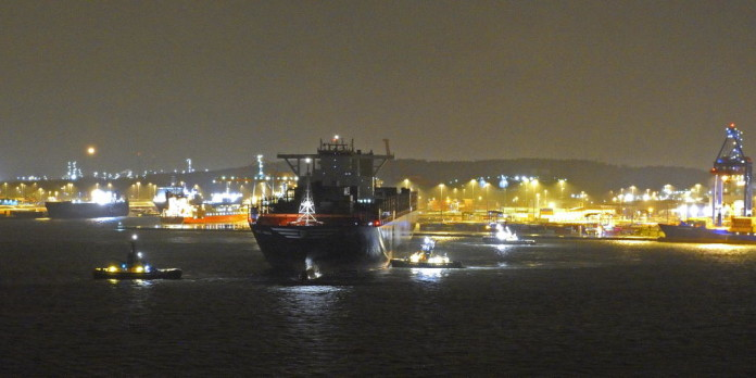 MSC Maya, the world's largest container vessel, calls at the Port of Gothenburg