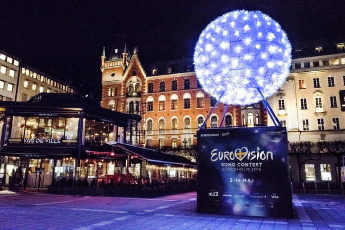 a three-dimensional sculpture of the symbol for this year's Eurovision Song Contest 2016 at Norrmalmstorg Square in Stockholm