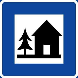 Road sign for hostel in Sweden