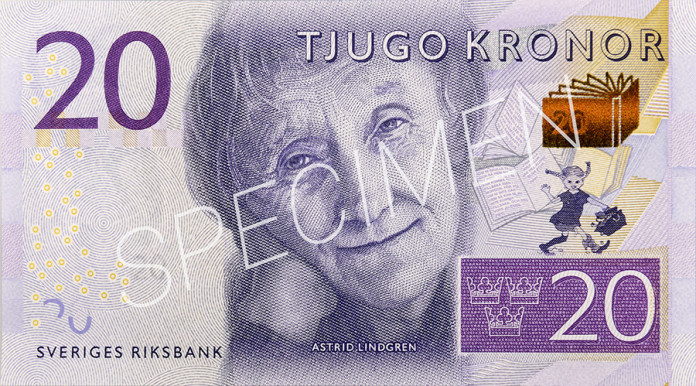 Pippi Longstocking on new 20-krona banknote