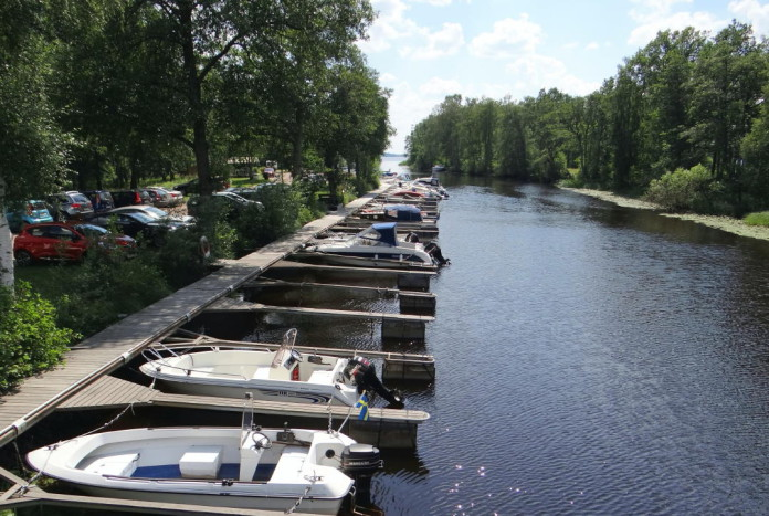 Värnamo in Småland: the river Lagan and the Lake Vidöstern
